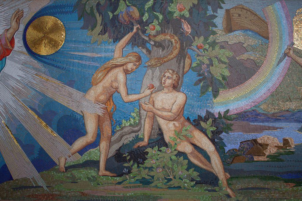 Eva, Adam und die Schlange im Paradies