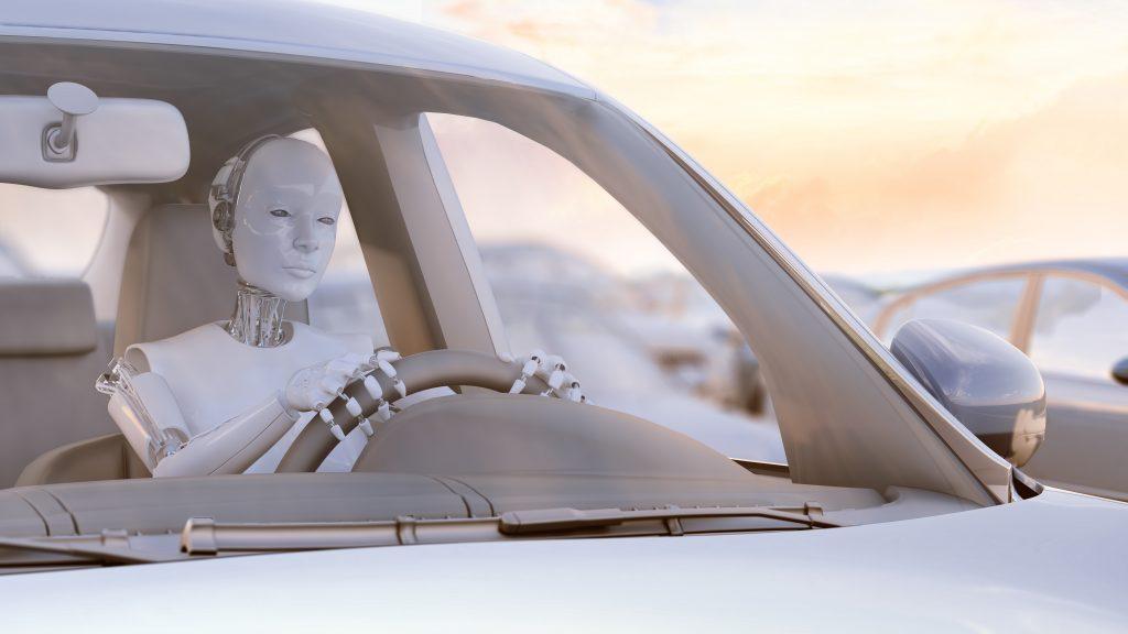 Roboter am Steuer eines Autos